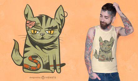 Diseño de camiseta de gato tatuado