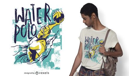 Grunge waterpolo player t-shirt design