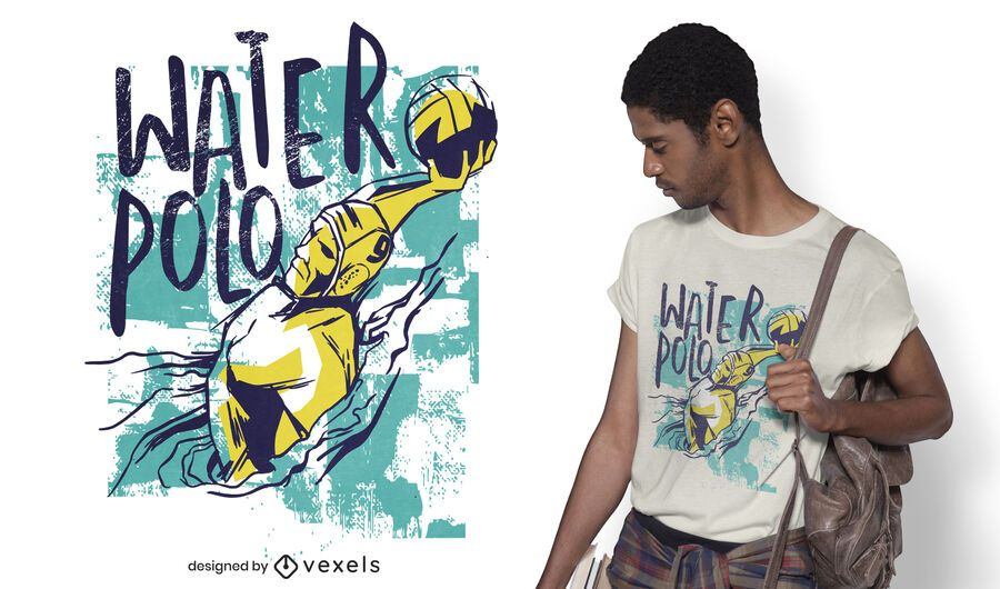 Grunge waterpolo player t-shirt design