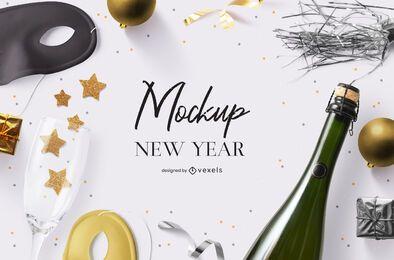 Composición de psd de maqueta de fiesta de año nuevo