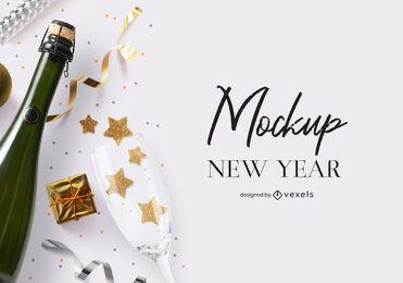 Composición de maqueta de fiesta de año nuevo psd
