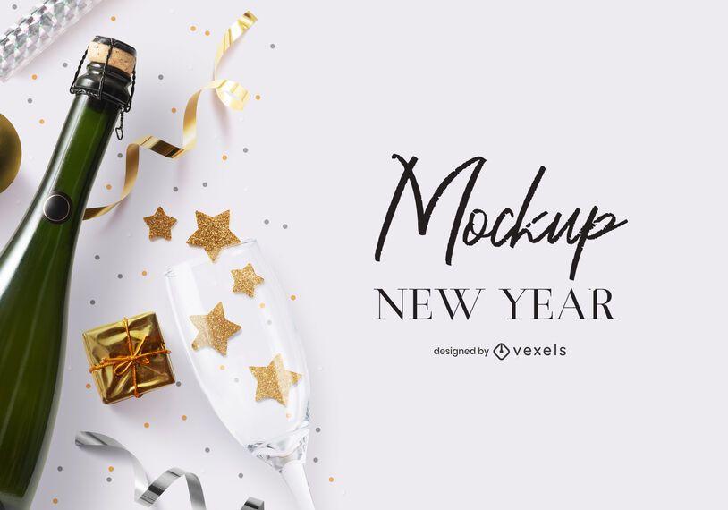 Composição de maquete de festa de ano novo psd