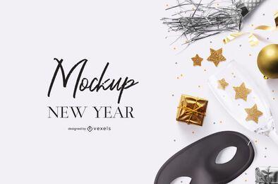 Composición de maqueta psd de fiesta de año nuevo
