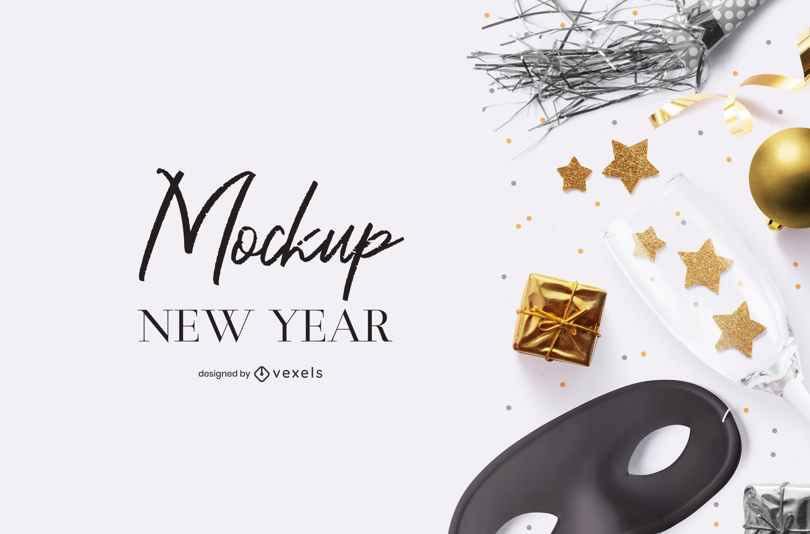 Composição de maquete psd de festa de ano novo