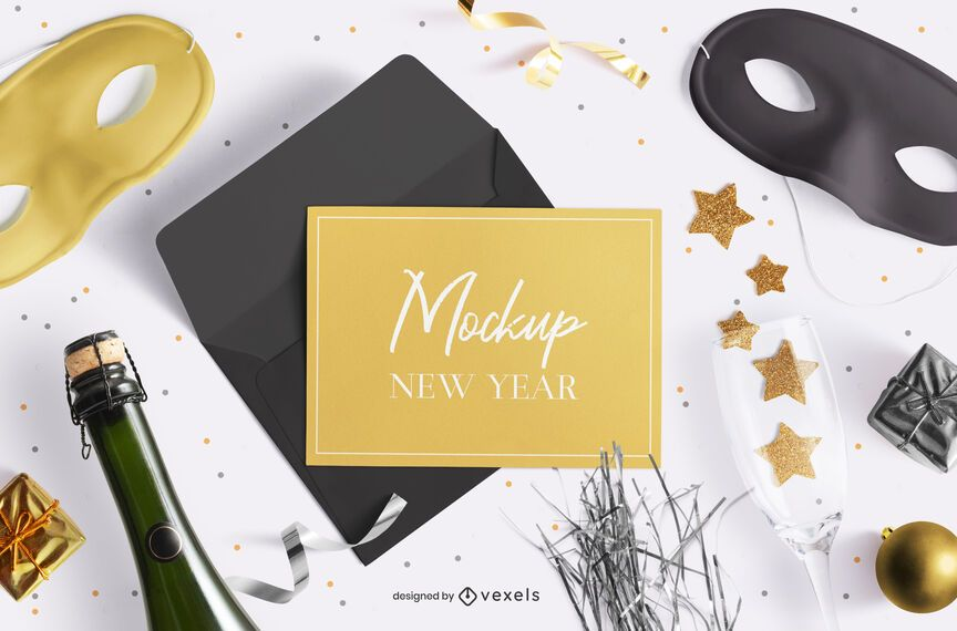 New year greeting card mockup composition