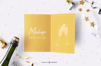 New year's party card mockup composition