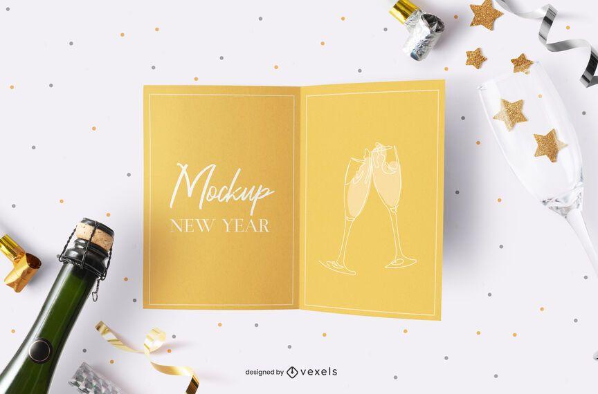Composição de maquete de cartão de festa de ano novo