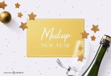 Composición de maqueta de tarjeta de año nuevo
