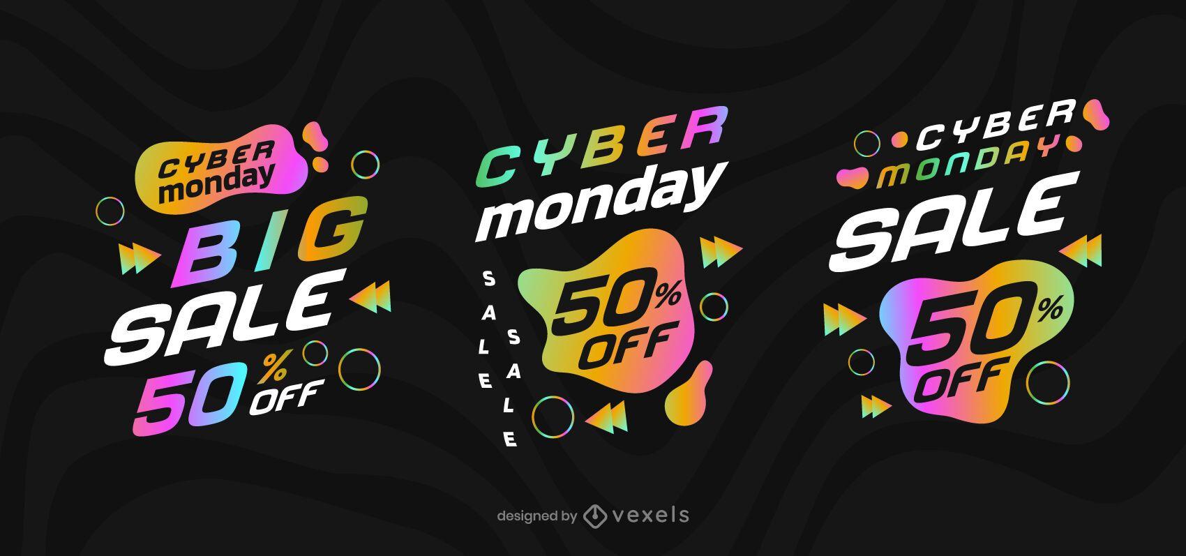 Conjunto de crachá de venda Cyber segunda-feira