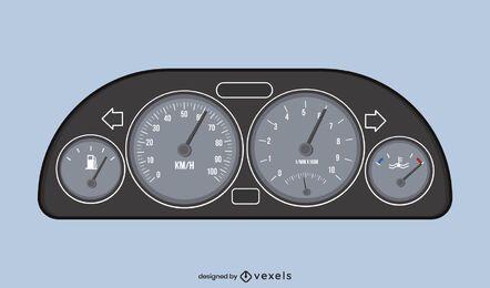 Ilustração do velocímetro do carro