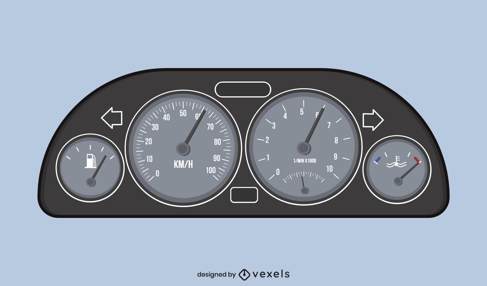 Car speedometer illustration design