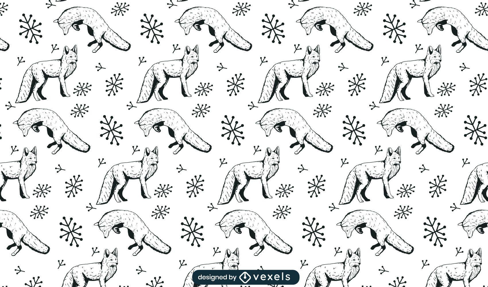 Diseño de patrón de zorros dibujados a mano