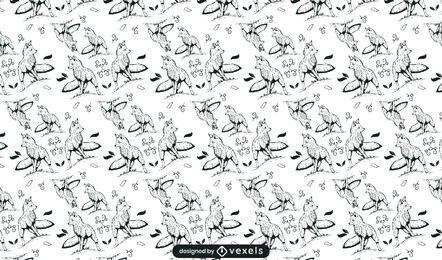 Diseño de patrón dibujado a mano de zorro