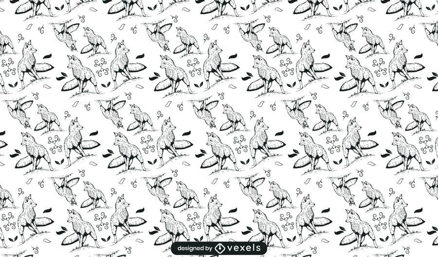 Fox hand drawn pattern design