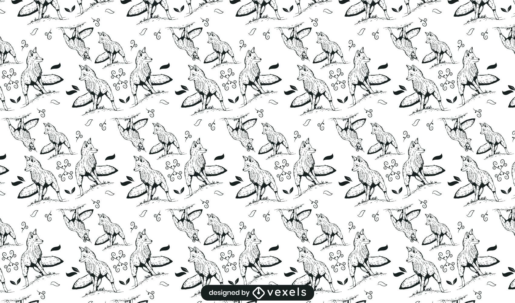 Fox hand drawn pattern design