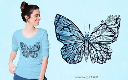 Diseño de camiseta de mariposa de cristal