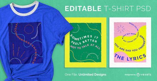 Diseño de camiseta psd de texto ondulado