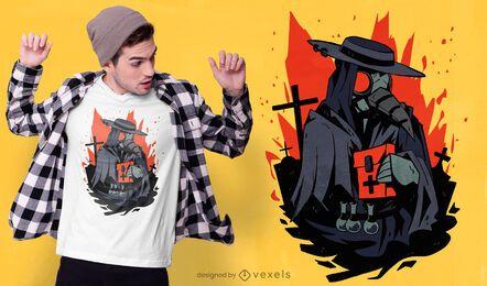 Design de camiseta do cemitério do doutor da praga