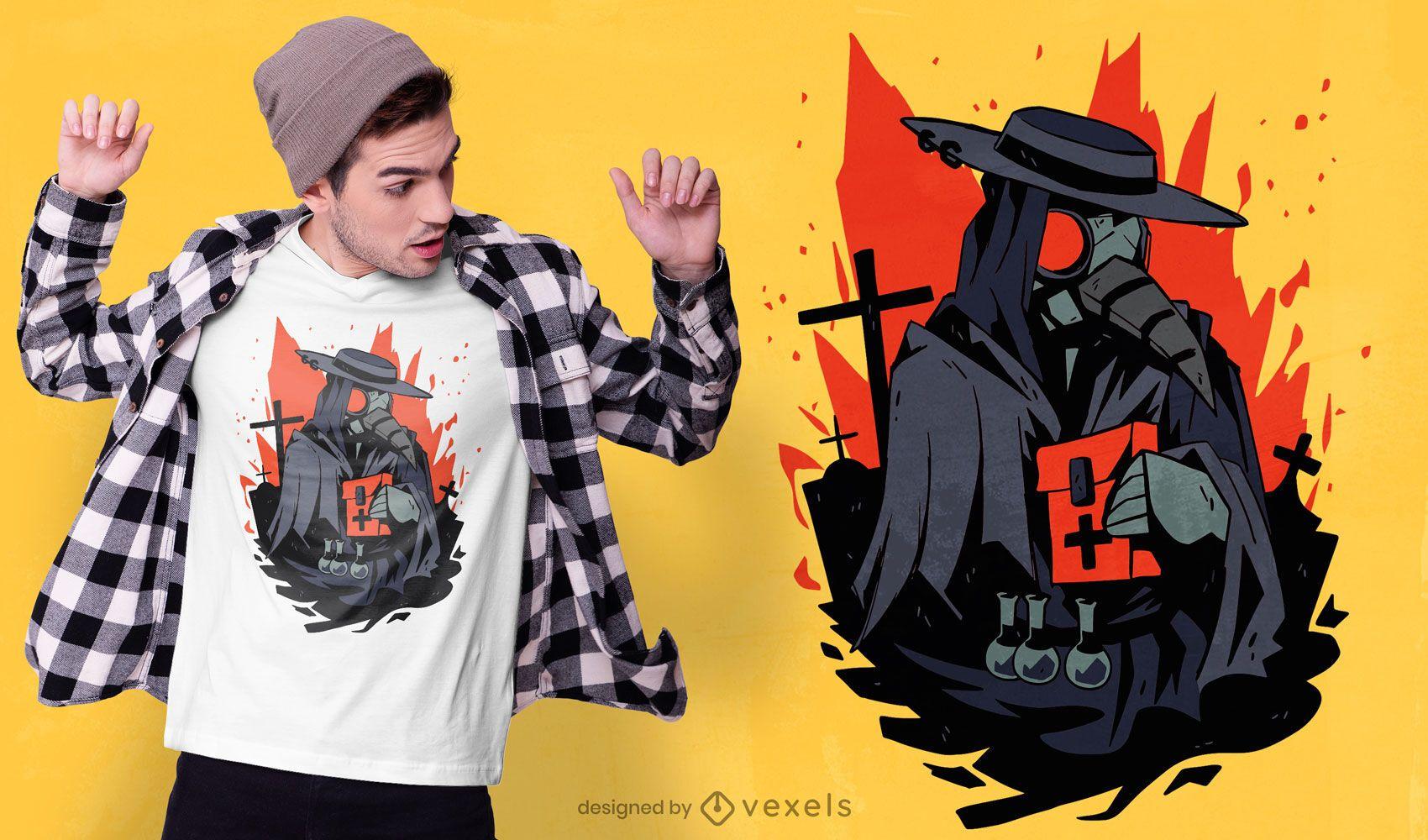 Diseño de camiseta plague doctor cementerio