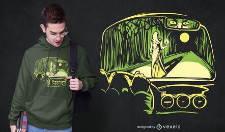 Design de camiseta de mulher horrorosa