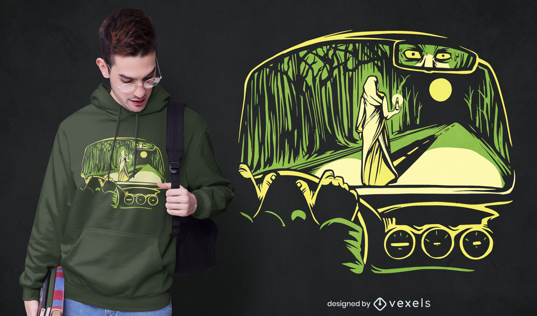 Diseño de camiseta de mujer de terror.