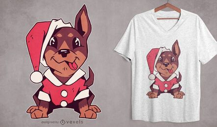Lindo diseño de camiseta de cachorro de navidad