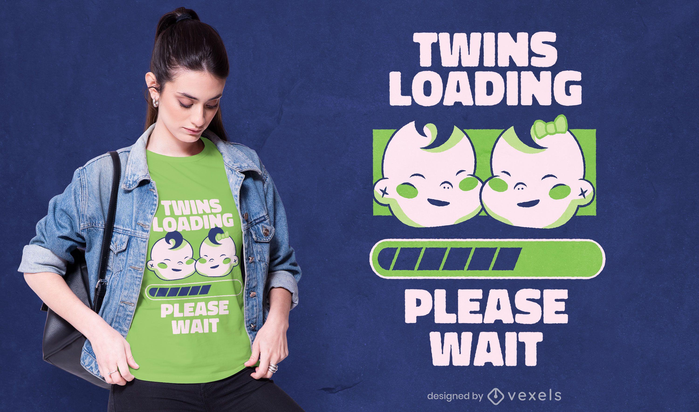 Gemelos cargando diseño de camiseta.