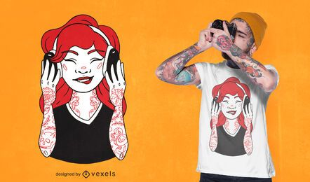 Design de t-shirt de menina tatuada