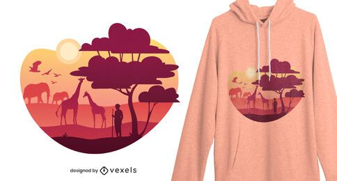Diseño de camiseta de paisaje africano