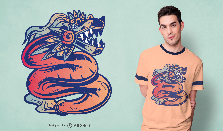 Diseño de camiseta de Quetzalcoatl