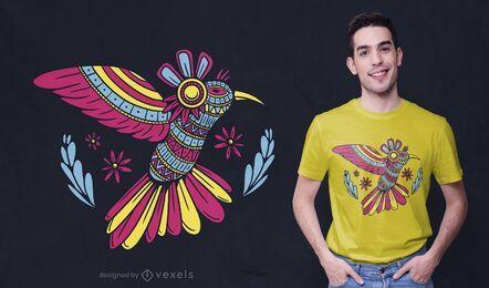 Diseño de camiseta de colibrí mandala