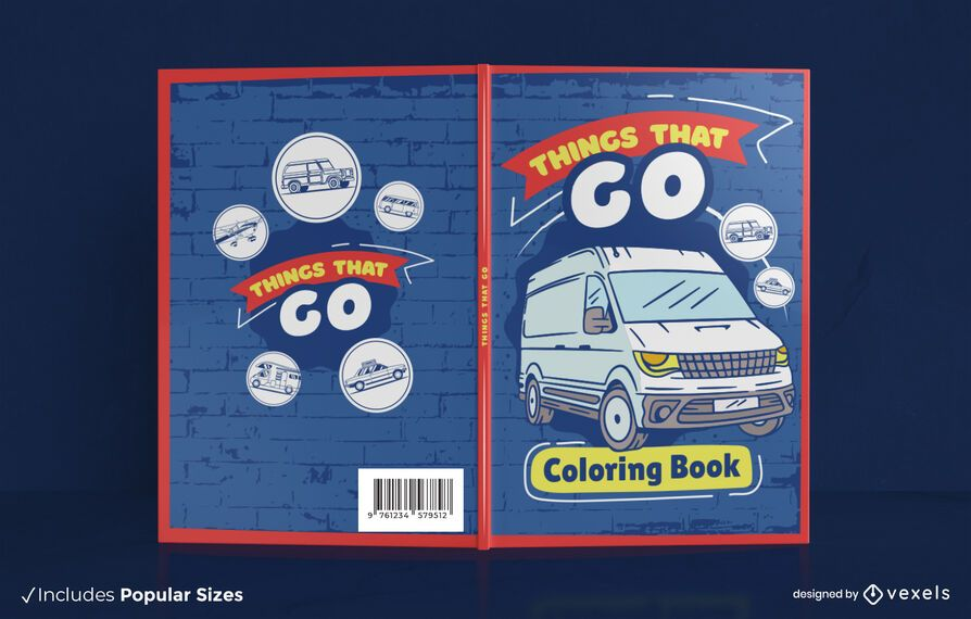 Vehicles coloring book cover design
