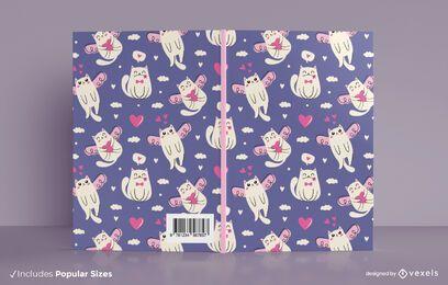 Diseño de portada de libro de gatos de San Valentín