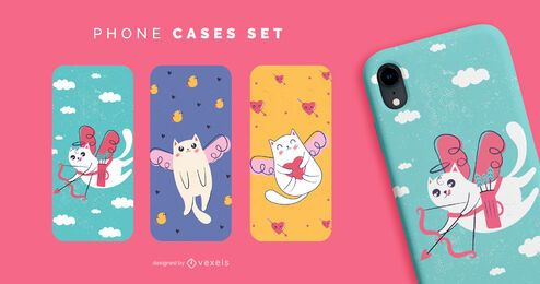 Cute valentines cats phone cases set