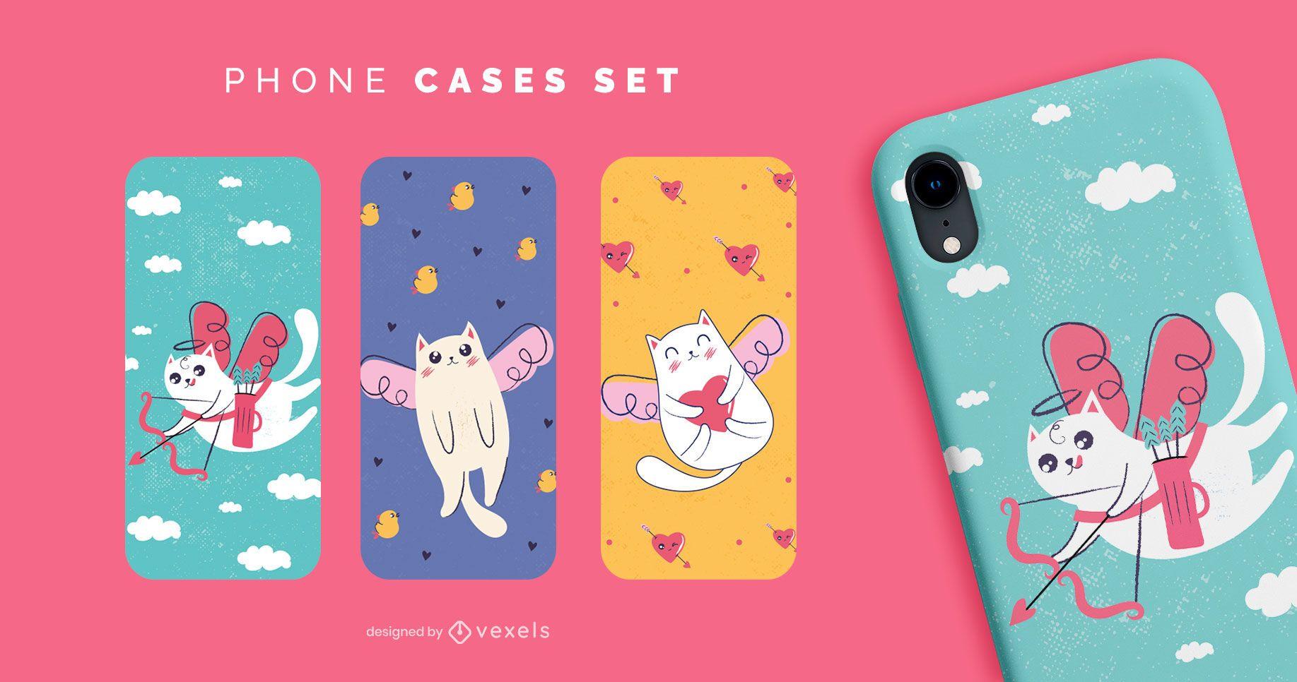 Conjunto de capas de telefone para gatos fofos para namorados
