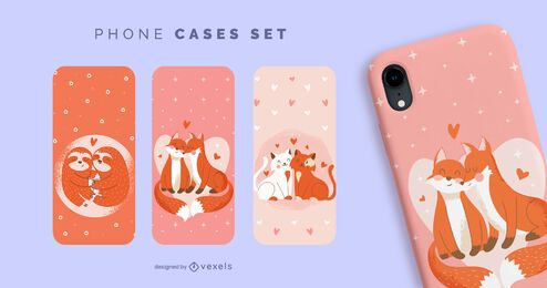 Valentine animals phone cases set