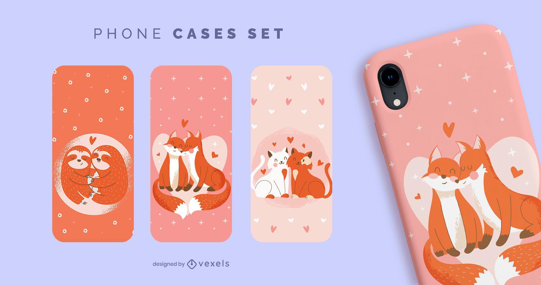 Conjunto de capas de telefone para animais dos namorados