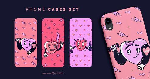 Conjunto de capas de telefone corações anti-namorados