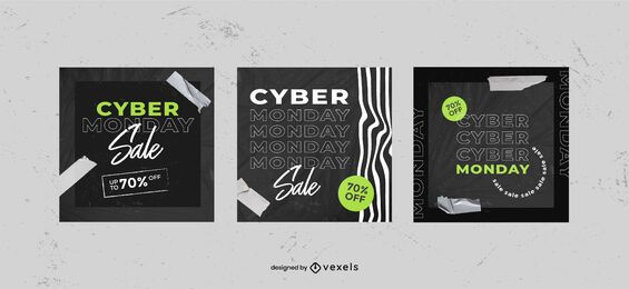 Cyber monday social media post set