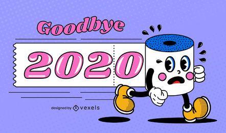 Goodbye 2020 funny illustration