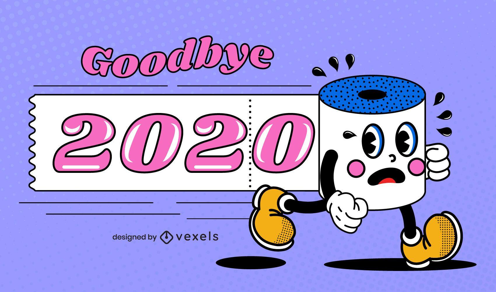 Adiós 2020 divertida ilustración