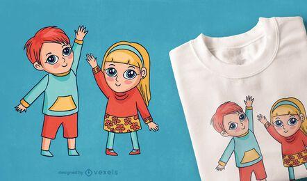 T-Shirt Design der glücklichen Kinder
