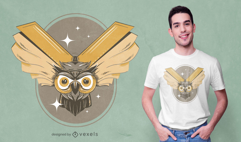 Diseño de camiseta de libros de búho