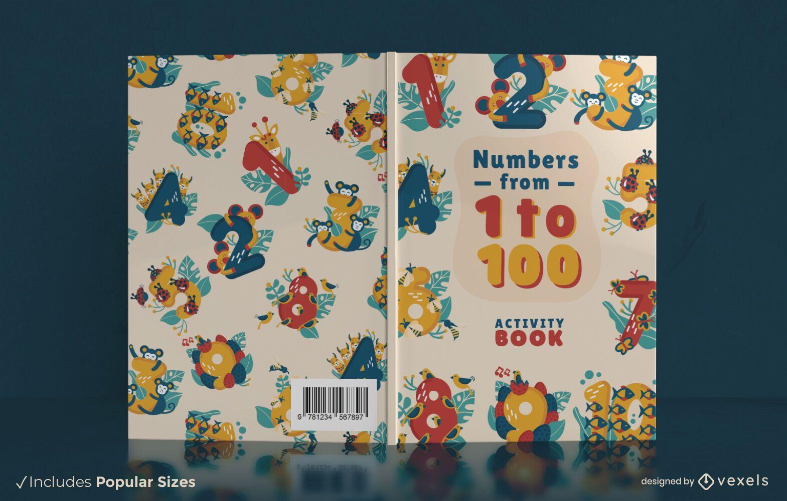 Diseño de portada de libro de actividades de números
