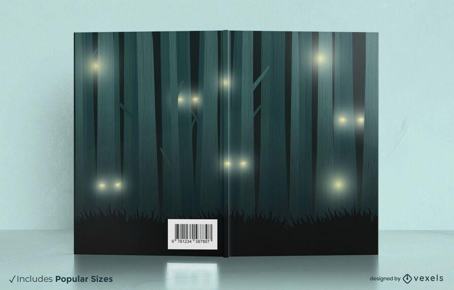 Diseño de portada de libro de noche de bosque
