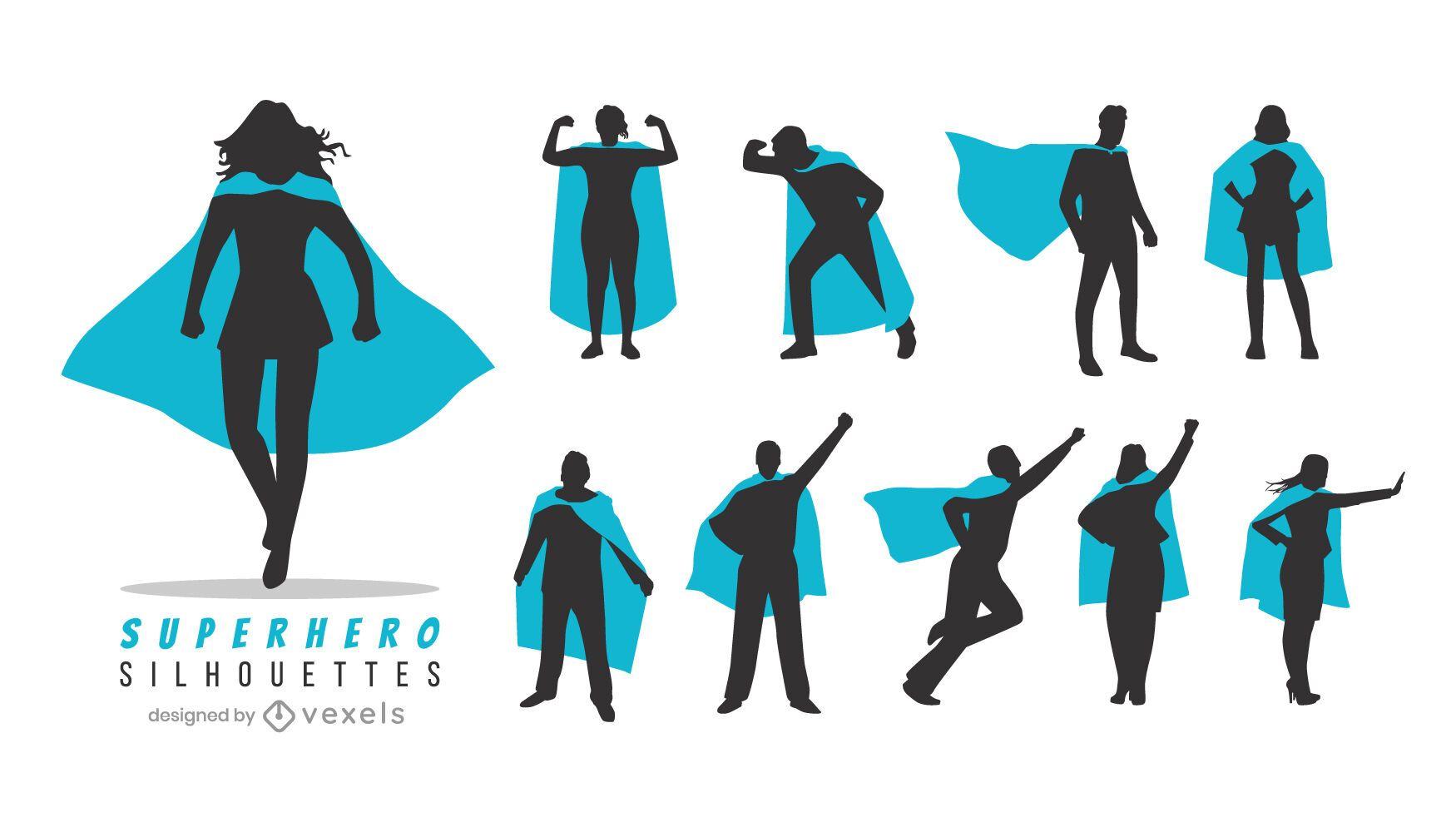 Superhero silhouette set
