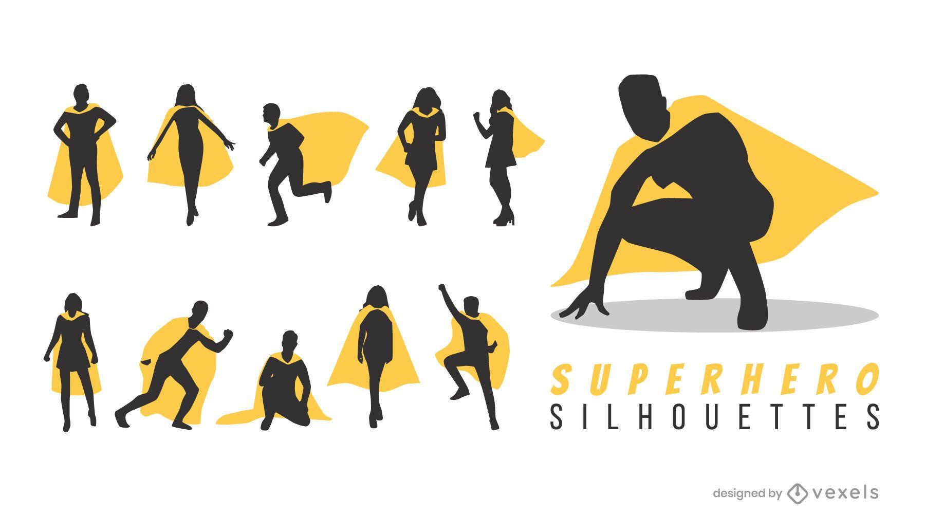 Superheros silhouette set
