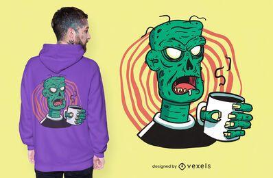 Diseño de camiseta café zombie