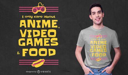 Diseño de camiseta de anime y videojuegos.