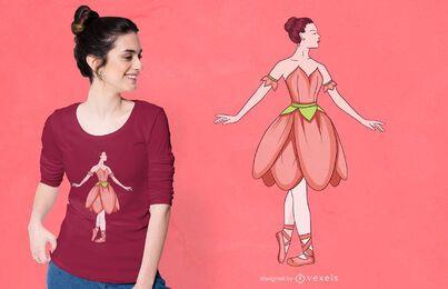 Diseño de camiseta de flor billerina.